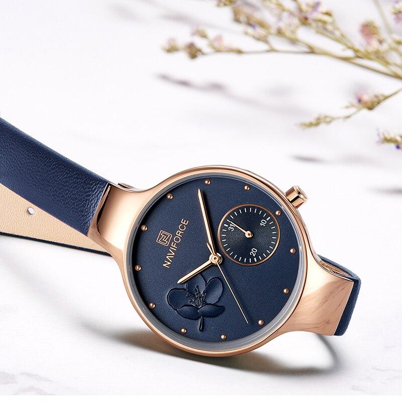 NAVIFORCE relojes de mujer superior de la marca de lujo de moda mujer reloj  de pulsera de cuarzo de cuero de las señoras 6f00aae37c0a