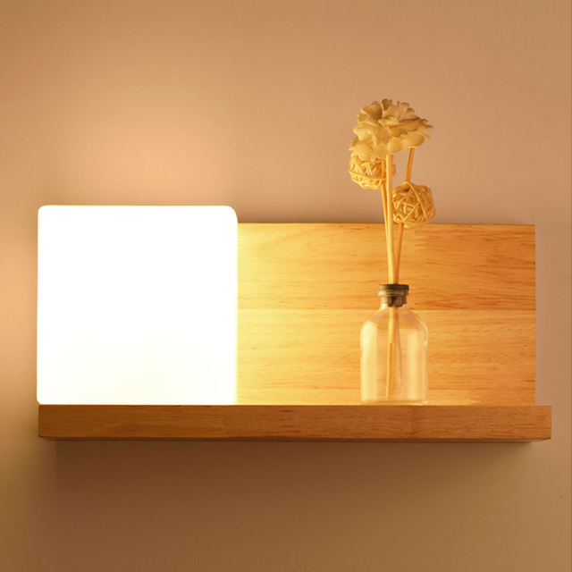 Bedroom bedside lamp LED wall lamp Chinese solid wood simple corridor porch lamp Nordic living room creative wall lamp 2