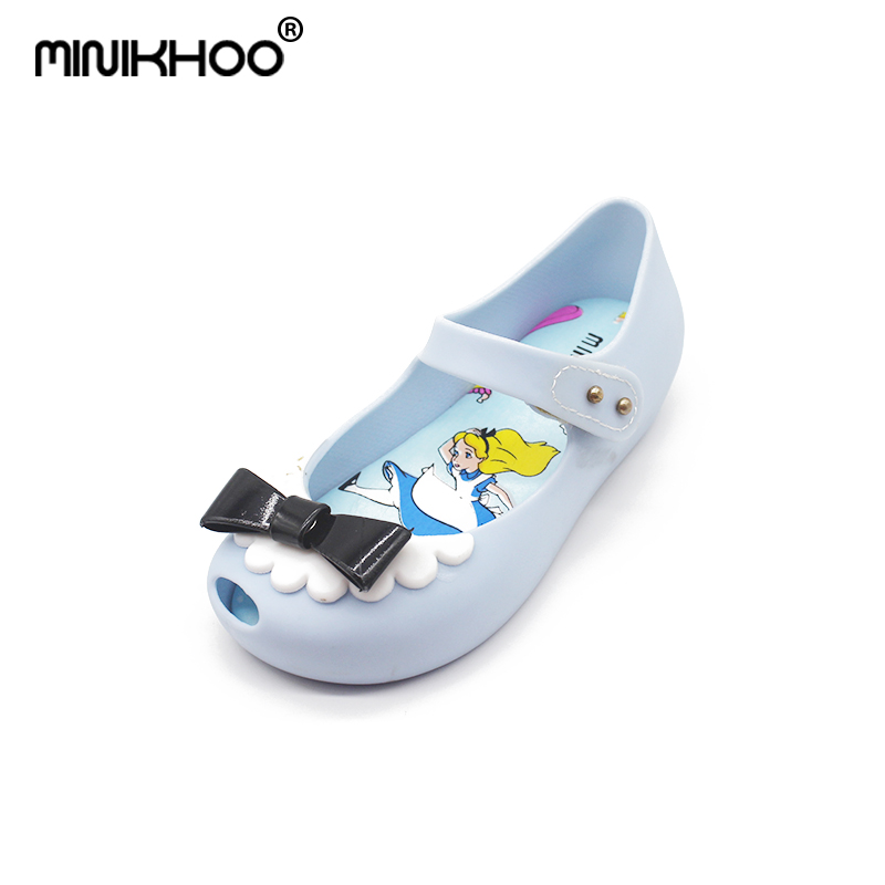 Mini Melissa 2 Color 2018 New Jelly Sandals Childrens Sandals Bow Fashion Princess Jelly Shoes Sandals Melissa Jelly Sandals