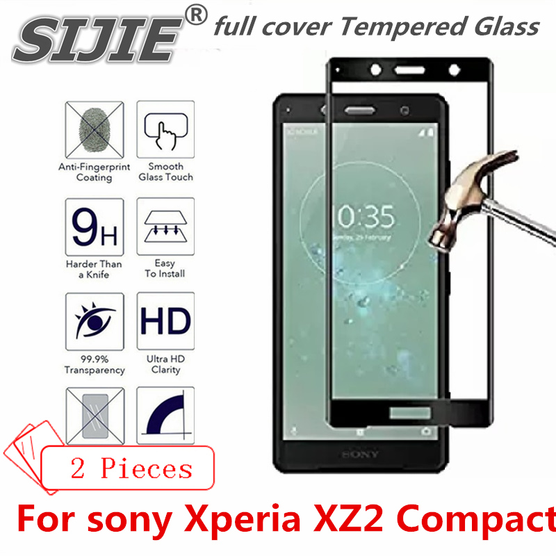 2 pcs full cover Tempered Glass For sony Xperia XZ2 Compact Suitable smartphone Screen protective toughened fit on case friendly in Phone Screen Protectors from Cellphones Telecommunications