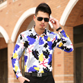2016 новая весна осень мужская мода цветочные рубашки мужчины высокое качество отпуск печать человек Большой размер s-3xl 4XL 5XL 6XL 7XL 5z