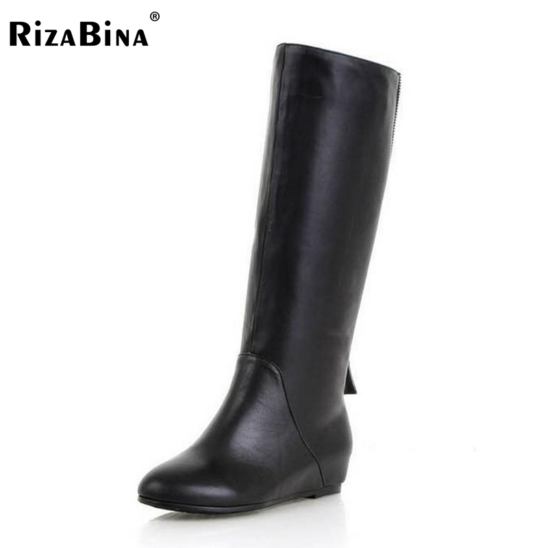 RizaBina Free shipping over knee natrual genuine leather wedge boots women snow winter warm boot shoes  R1208 EUR size 32-43