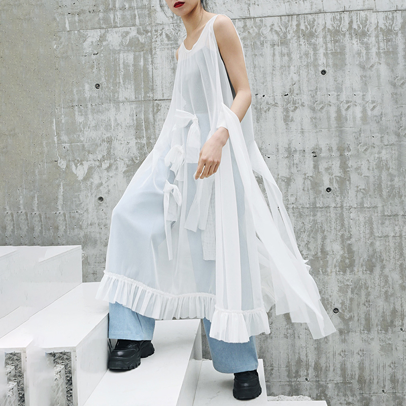 [EAM] 2020 New Spring Summer Round Neck Sleeveless Mesh Ruffles Bow Split Joint Temperament Dress Women Fashion Tide JW807