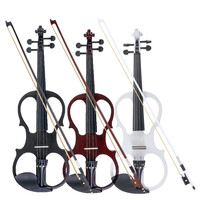 4/4 Electric Acoustic Violin Basswood Fiddle with Violin Case Cover Bow Rosin Parts for Musical Stringed Instrument Lovers Gift