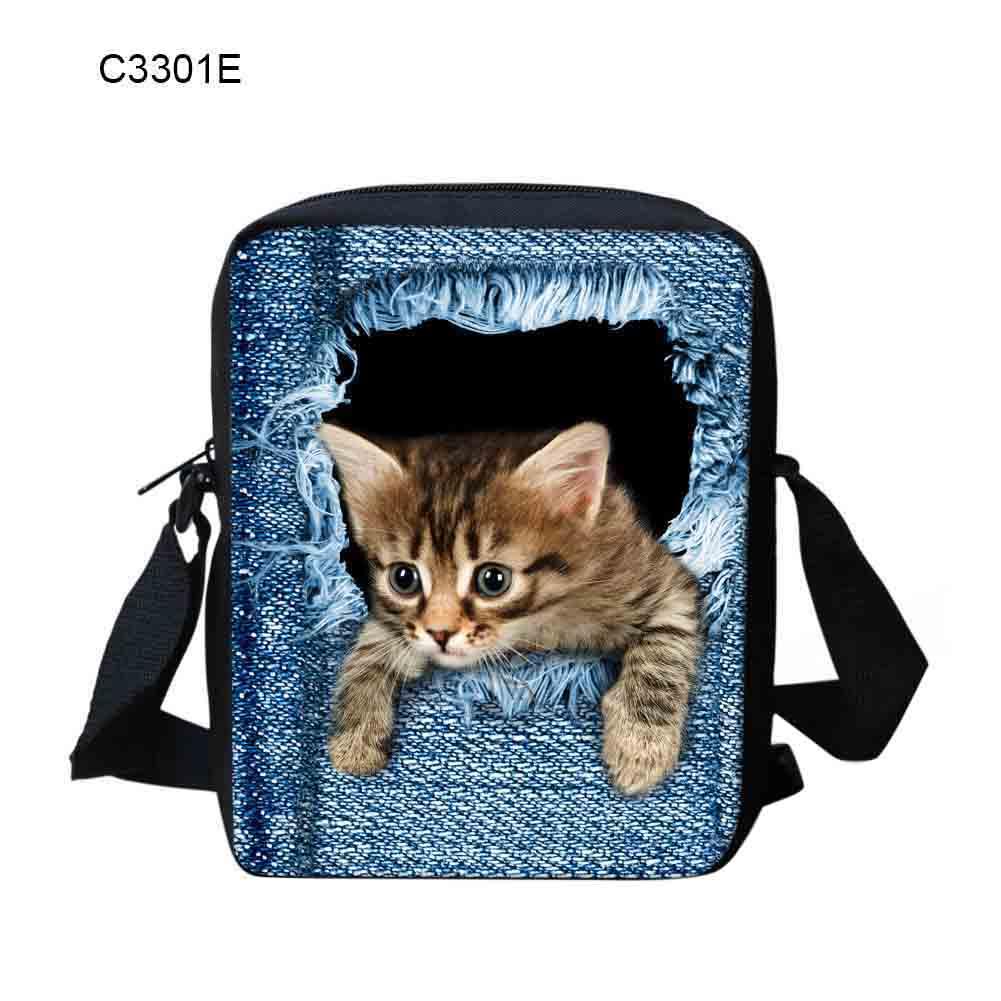 2018 Neue Frauen Schulter Tasche Denim 3d Katze Muster Handtasche Zipper Geldbörse Lässig Messenger Umhängetaschen Bs88