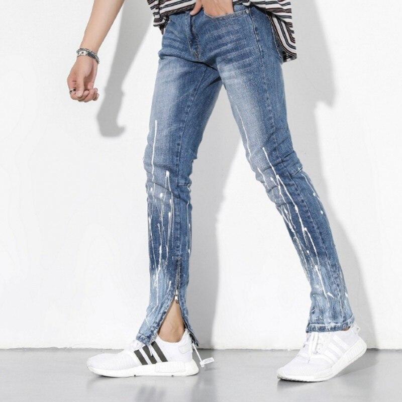 High Street Side Zipper Stretch Jeans Men Washed Blue Print Slim Fit Mens Brand Jeans Pants 2018 Cowboy Trousers Male Streetwear