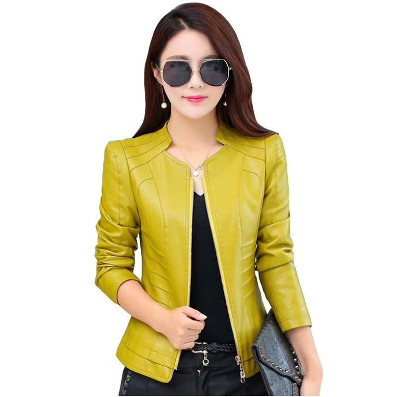 2019 Casual Long Sleeve Women Soft PU   Leather   Jacket Outerwear Winter Autumn Female Slim Faux   Leather   Coat Ladies Jacket M-4XL