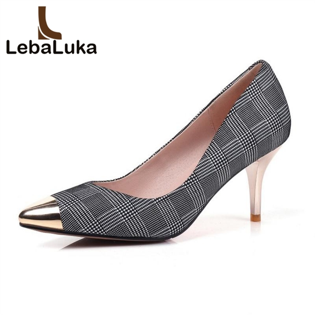 1067c1855fea4 US $43.98 49% OFF LebaLuka Size 31 45 Vintage Women Real Genuine Leather  High Heel Shoes Women Plaid Pointed Toe Gold Heel Pumps Daily Shoe Women-in  ...