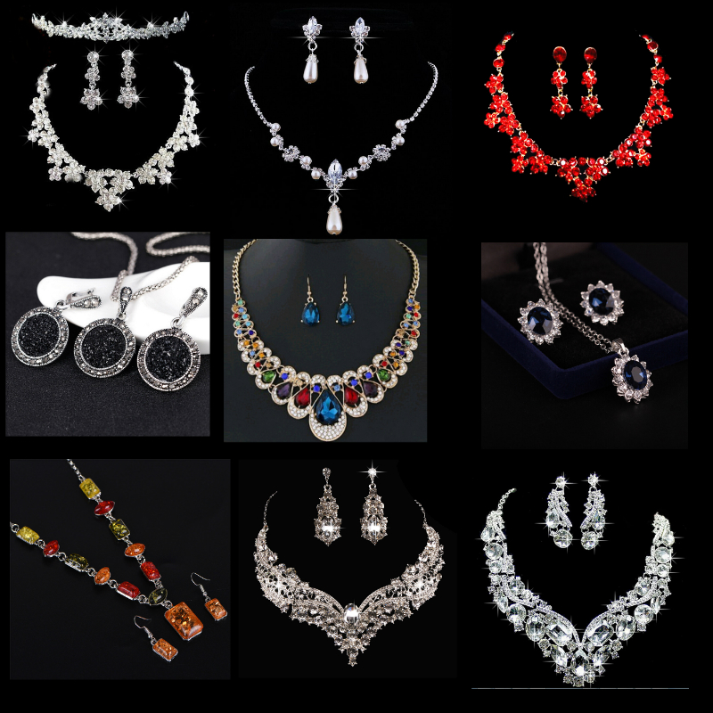 Wedding-Jewelry-Sets Necklace Bridal-Accessories Choker Crystal Waterdrop Elegant