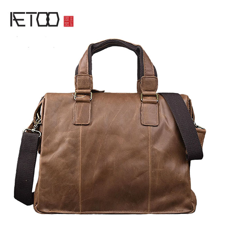 цена на AETOO Crazy horse skin retro handbag hand leather cross section handbag briefcase cowhide shoulder Messenger bag computer bag