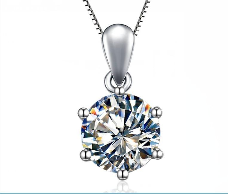 2Ct Lab Created Brilliant Diamond Pendant Sterling Silver 925 Never Tarnish Non Allergy Best Valentine Gift