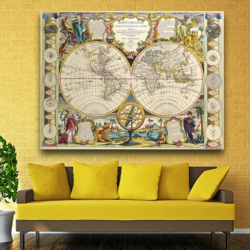 Large Vintage World Map Office Supplies Detailed Antique Poster Wall ...