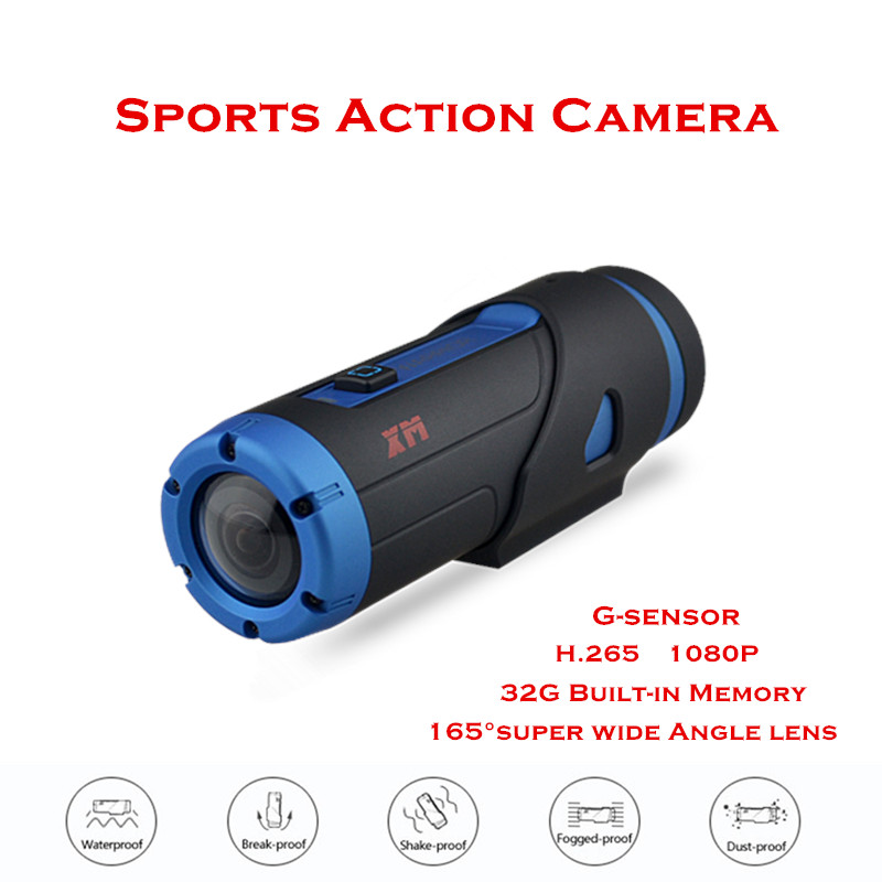 2016 New XM G1S H.265 1080P HD Waterproof Night Vision Sport Action Camera With 32GB SD Card Wifi Vi