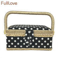 FullLove Dots Printed Sewing Storage Box Basket 19 5 13 10cm Black Wood Cotton Jewelry Case