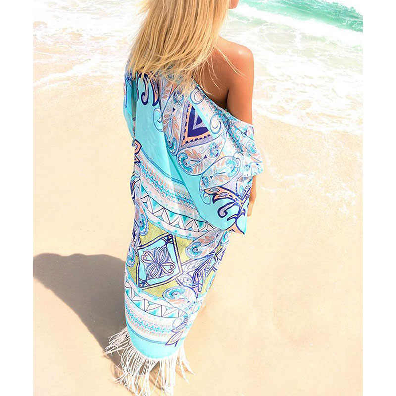 8894c2157b ... New Chiffon Beach Cover Up Long Tassel Beach Cardigan Feminino Swim  suit Printed Bathing Suit Cover ...