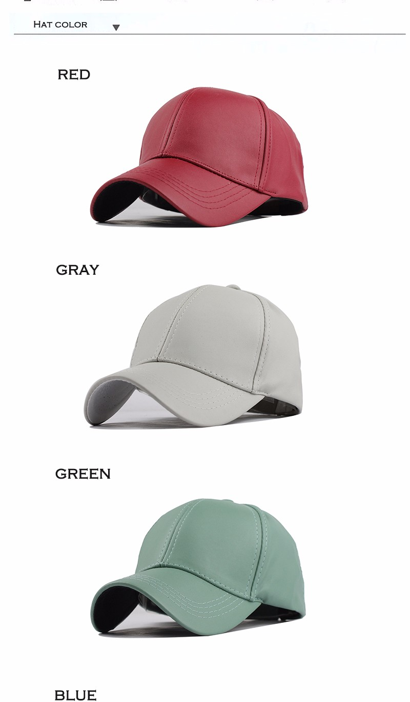 FETSBUY New High Quality Leather Cap Biker Trucker Caps PU Solid Color HIP HOP Snapback Baseball Cap Fitted Adjustable Hat 2017 9
