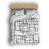 4 Piece Bed Sheets Set Labyrinth Style Straight Lines 1 Flat Sheet 1 Duvet Cover And