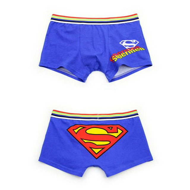 Cartoon youth Boxers Underpants Underwear Men Boxer Cotton superman spider men mouse Cat Calzoncillos Boxer Men Shorts Panties