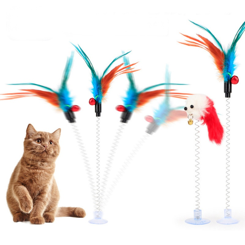 Cat Toys Funny Cat Elastic Feather False Mouse Bottom Sucker Cat Toys Kitten Play Scratch Toy Pet Cat Products Color Random