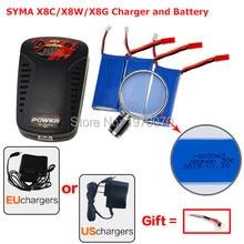 SYMA X8C X8W X8G HQ H899 Pièce De Rechange RC Quadcopter 3×7.4 V 2000 mAh Batteries + UE/US Plug équilibre Chargeur drone accessoires