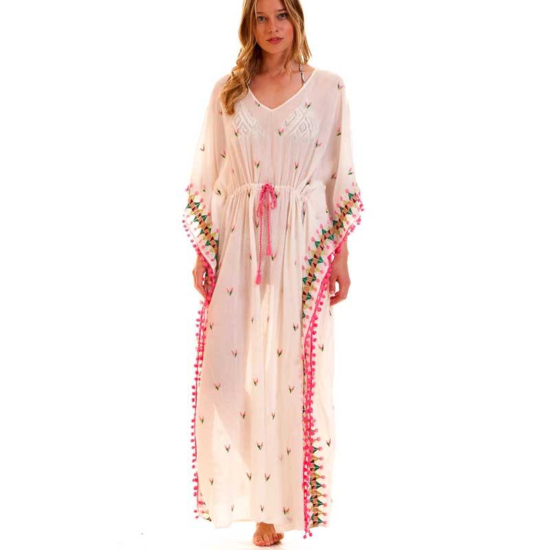 Summer dress Women Multicolor Embroidered Kaftan Dress ...