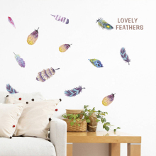 Colorful Lovely Feather Wall Stickers For Home Decoration Accessories PVC For Living Room Bedroom DIY Mural Decor Wall Art Decal colorful dream catcher flying feather wall stickers symbol home decor bedroom accessories living room decal mural art poster
