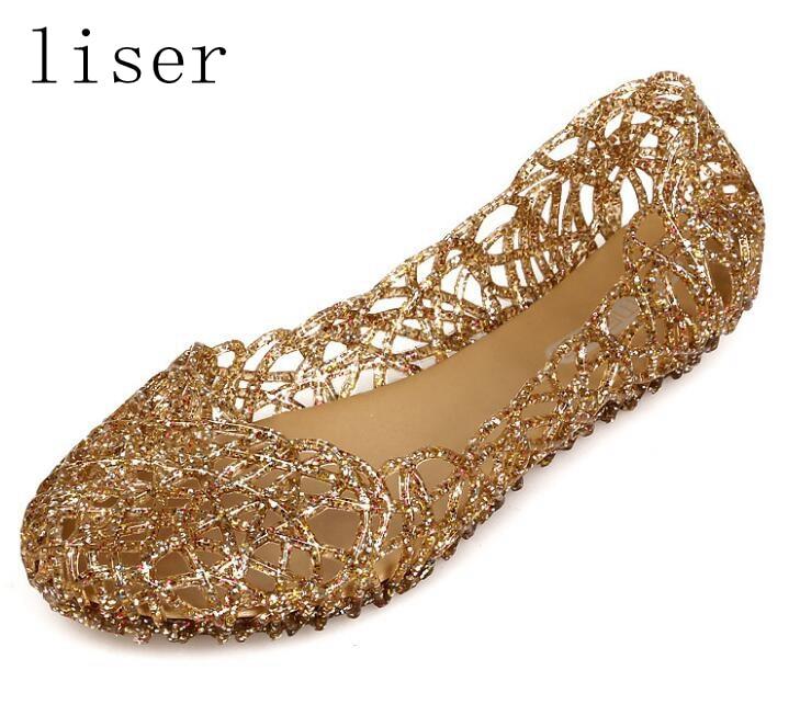 Liser Hollow Out Mesh Ravne sandale Ženske Novo poletje Sijajne - Ženski čevlji