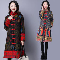 Chinese Style Stand Collar Winter Coat Woman 2018 Fashion Flower Printed Cotton Loose Coat Female National Style Big Size A1004