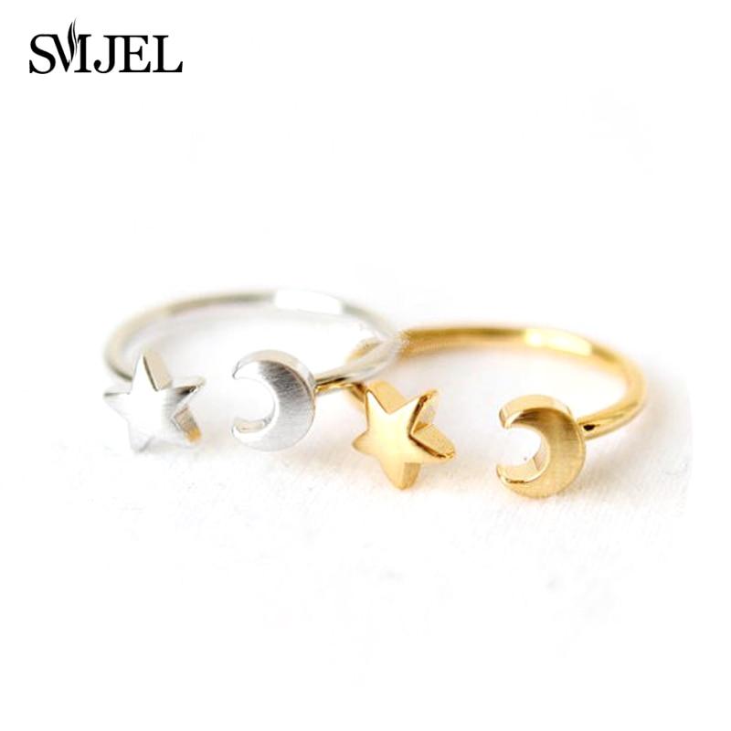SMJEL nueva estrella Luna anillos Midi media luna Luna abierto anillos para mujeres chica anillo joyería Bijoux regalos de cumpleaños R161