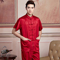 New Arrival Chinese Men Satin Kung Fu Shirt Short Sleeve Kung Fu Shirt Wu Shu Clothing Tops M L XL XXL XXXL W12