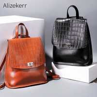Crocodile Pattern Backpack Women High Quality PU Leather Ladies Backpack Large Capacity School Bag Travel Shoulder Bags Mochilas