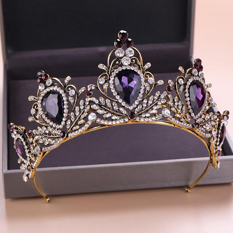 Fashionable Vintage Purple Crystal Crown Bridal Hair Accessories For Women Evening Party Dress wholesale