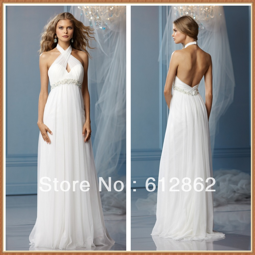 Sleeveless a line low back halter top sexy beach wedding for Top of the line wedding dresses