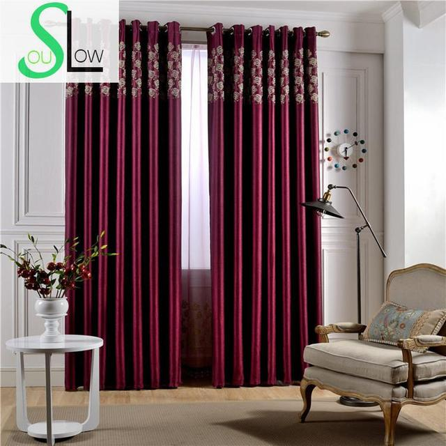 Slow Soul Rose Floral Red Wine Pearl Velvet Thickened Blackout Curtains European Luxury Europe For Living