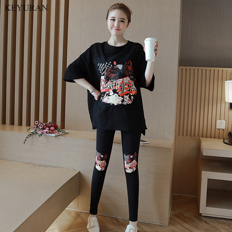 Spring Summer Print Maternity Clothing Suit T-shirt Long-sleeve Top Sports Casual Fashion Legging Pants Pregnant Sets Clothing maternity clothing summer one piece dress cotton medium long 100% plus size maternity top t shirt summer short sleeve loose long