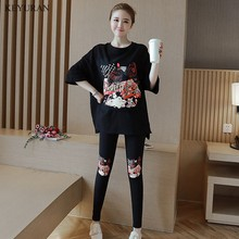 Spring Summer Print Maternity Clothing Suit T-shirt Long-sleeve Top Sports Casual Fashion Legging Pants Pregnant Sets Clothing