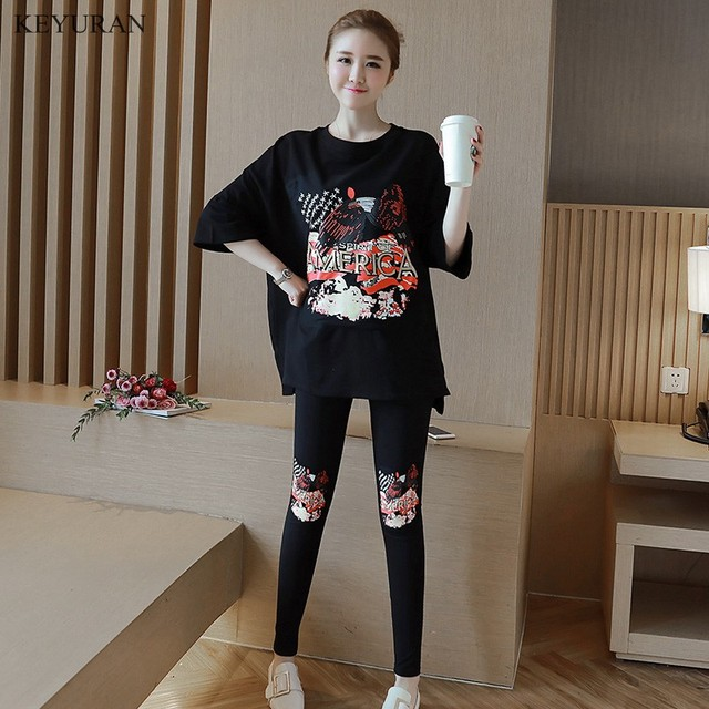 6942747d Spring Summer Print Maternity Clothing Suit T-shirt Long-sleeve Top Sports  Casual Fashion Legging Pants Pregnant Sets Clothing