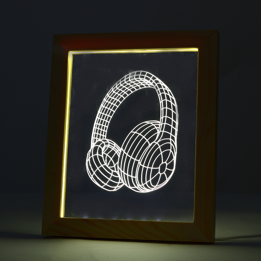 FL-703 3D Photo Frame Illuminative LED Night Light Wooden Earphone Desktop Decorative USB Lamp for In-Outdoor Decoration Light