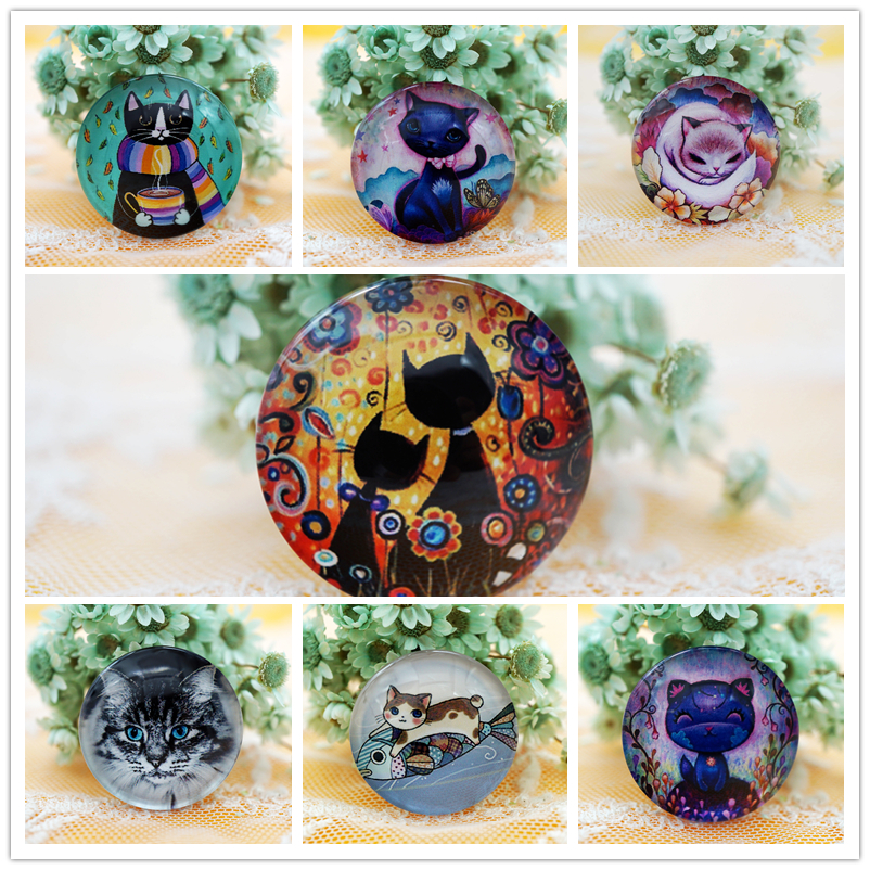 10PCS/lot Round 8MM-20MM Cute Cat Glass Cabochons For Women Jewelry Making Rings Earrings Hair Pins Base Cabochon Craft Supply