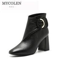 MYCOLEN зимняя обувь «Челси» на высоком каблуке Ботильоны без застежки модные Брендовая женская обувь 2018 осень женская обувь черный
