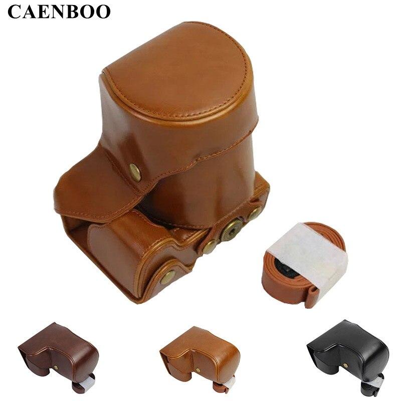 CAENBOO En Cuir PU Caméra Sac Vintage Corps Dur Cas Pour Sony A6500 ILCE6500 16-70mm 18-55mm Objectif Rétro Sac Avec Épaule sangle