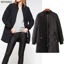 Freeshipping casaco куртка Европа и соединенные Штаты давно в женская мода плед джокер утолщение хлопка-проложенный одежды
