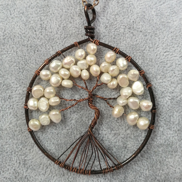 Tree Of Life Freshwater Pearl Pendant Necklace Copper Wire Handmade ...