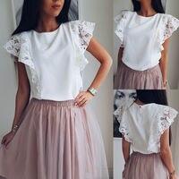 Новые летние женские топы шифоновые кружевные повседневные рубашки женские без рукавов с круглым вырезом свободные блузки белые топы