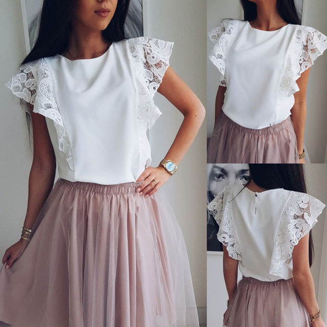 New Summer Women Tops Chiffon Lace Casual Shirt Ladies Sleeveless O-neck Loose Blouse White Tops