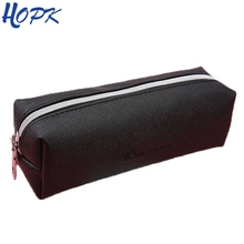 Black PU Leather Pencil Case Cute Big Capacity Zipper Pencil Box For Girl Cosmetic Bag School Pencil Bag School Supplies Tools