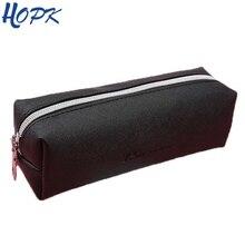 Black PU Leather Pencil font b Case b font Cute Big Capacity Zipper Pencil Box For