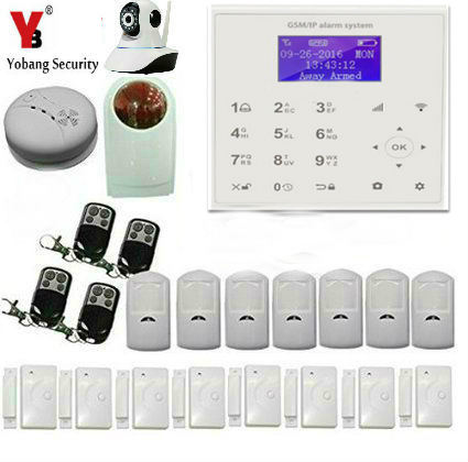 YobangSecurity Wireless WIFI GSM / SMS Communicating Intruder Burglar Home Alarm System WIFI IP Camera Flash Strobe Siren