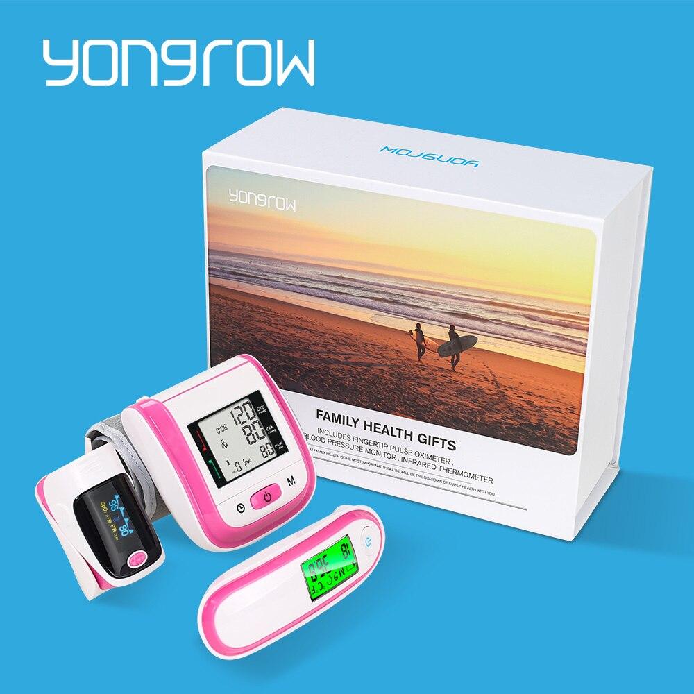 SpO2 Yongrow NOVA Família Caixa de Presente Saúde Oxímetro de pulso Monitor de Pressão Arterial de Pulso Esfigmomanômetro de Orelha Termômetro Infravermelho