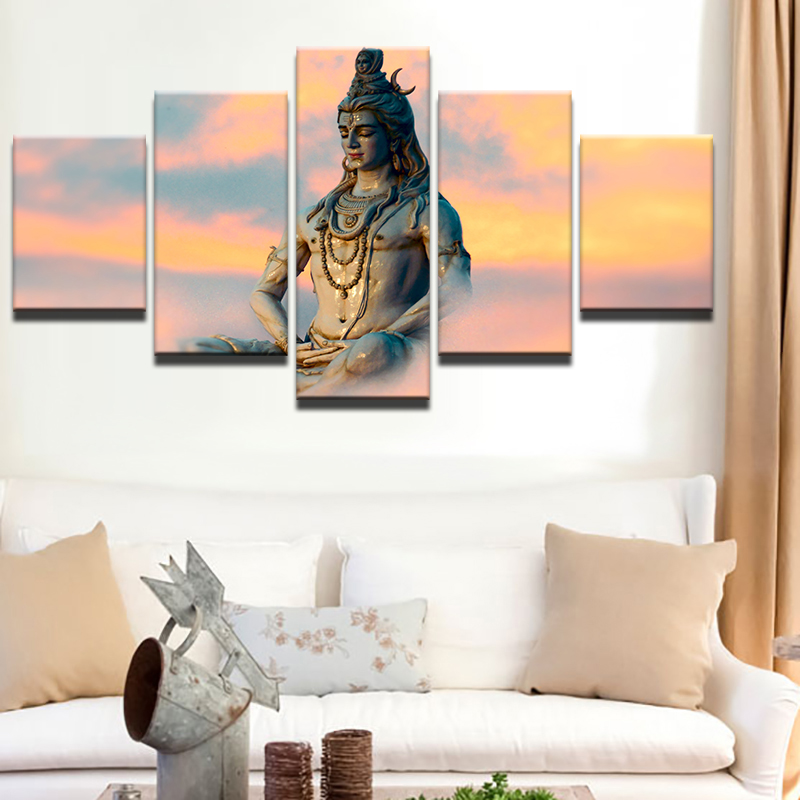 Wall Decor For Living Room India Lodge Modern Frames Modular Pictures 5 Panel Great Deities God Siva Art Home Artwork Canvas Prints